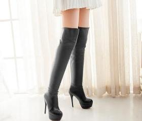 high stiletto heel platform PU leather over the knee waterproof autumn winter high boots