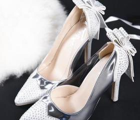 pointed toe crystal bowknot slip on women high heels fashion stiletto pumps wedding shoes