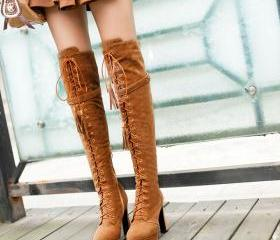Platform Thin with High hell Lace up Round toe Over the Knee Suede Women Fringe boots