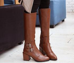 Platform Square with high heel Round toe Slip on Over the Knee PU leather Designer style boots