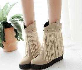 Platform Flat Height INcreasing Round toe Slip on Over the Ankle tassel Suede Women boots