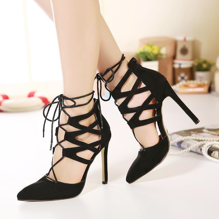 Pointed Toe Lace Up Nubuck Leather Gladiator Rome Stiletto Zipper