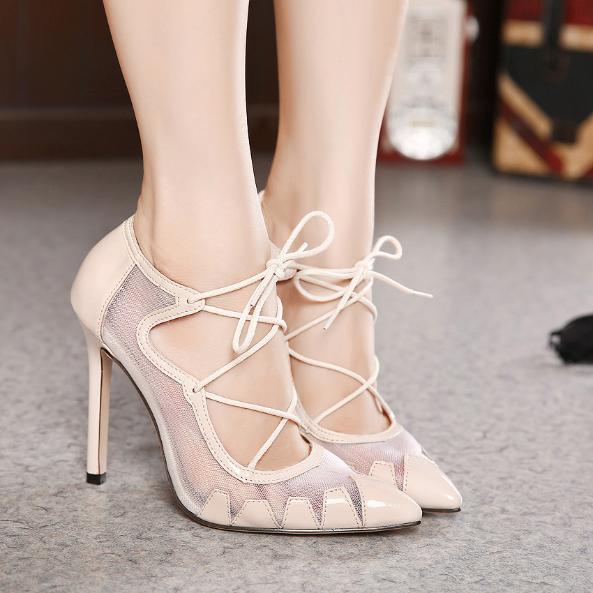 Pointed Toe Mesh Lace Up High Heel Shoes on Luulla